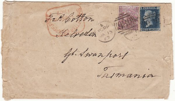 GB - AUSTRALIA…1867 TO EARLY SETTLER & QUAKER IN TASMANIA…