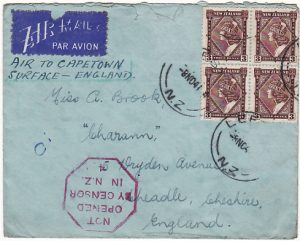 NEW ZEALAND - GB...1941 NOT OPENED BY CENSOR AIR MAIL VIA HORSESHOE ROUTE…