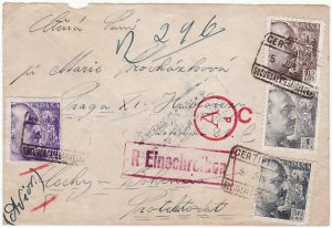 SPAIN - BOHEMIA…WW2 REGISTERED CENSORED AIRMAIL…