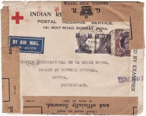 INDIA - SWITZERLAND ….WW2 CENSORED AIRMAIL RED X & OFFICIALLY SEALED…