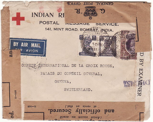 [15387]  INDIA - SWITZERLAND ….WW2 CENSORED AIRMAIL RED X & OFFICIALLY SEALED…  1943 (Jul 25)