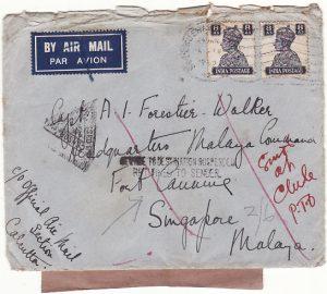 INDIA - MALAYA...WW2  SERVICE TO DESTINATION  SUSPENDED …