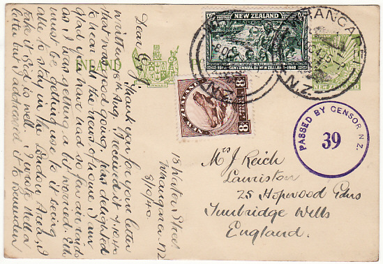 [18188]  NEW ZEALAND - GB…..WW2 UPRATED STATIONARY…  1940 (Oct 8)