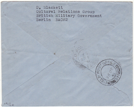 [17046]  GERMANY - HOLLAND..BRITISH MILITARY GOVERNMENT BERLIN…  1951 (Oct 25)