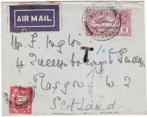 INDIA - GB..1929 UNDERPAID AIRMAIL & TAXED...