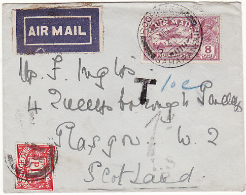 [17597]  INDIA - GB..1929 UNDERPAID AIRMAIL & TAXED...  1929 (Dec 5)
