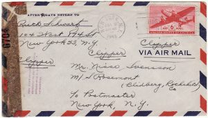 USA…WW2 TRAVELLERS CENSOR on M/S ROSEMONT MAIL…