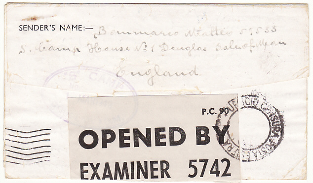 "[19250]  GB - ITALY…ISLE OF MAN CIVIL INTERNEE in CAMP ""S"".....  1942 (Mar 1)"
