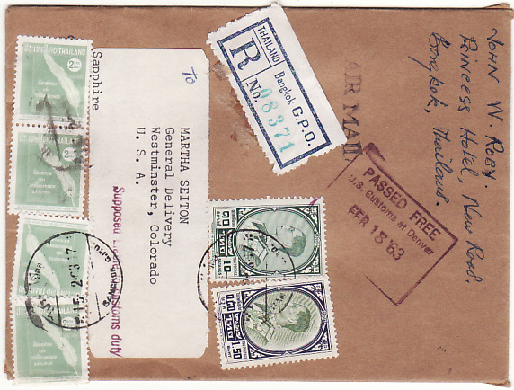 [19251]  THAILAND - USA…REGISTERED & PASSED FREE BY CUSTOMS .....  1963 (Feb 15)
