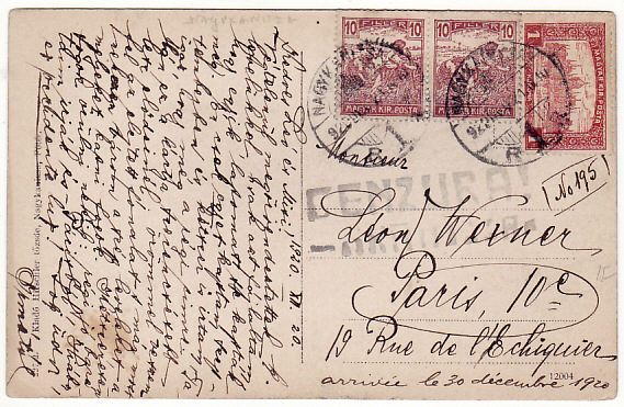 [15931]  HUNGARY - FRANCE…..1920 POST WW1 CENSORSHIP…  1920 (Dec 20)
