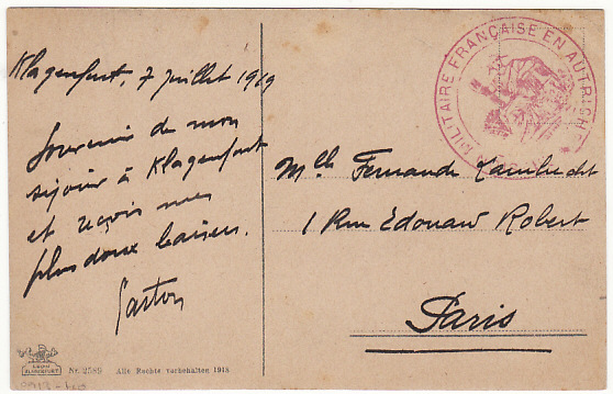 [17051]  AUSTRIA-FRANCE [FRENCH MILITARY MISSION to AUSTRIA]  1919(Jun 7)