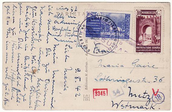 SPANISH MOROCCO...WW2 DOUBLE CENSORED...