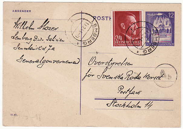 [19319]  POLAND - SWEDEN…WW2 GENERAL GOVERNMENT CENSORED to RED CROSS…  1944 (Feb 9)