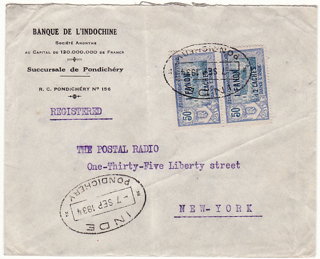 [19346]  FRENCH INDIA - USA…REGISTERED …  1934 (Sep 7)