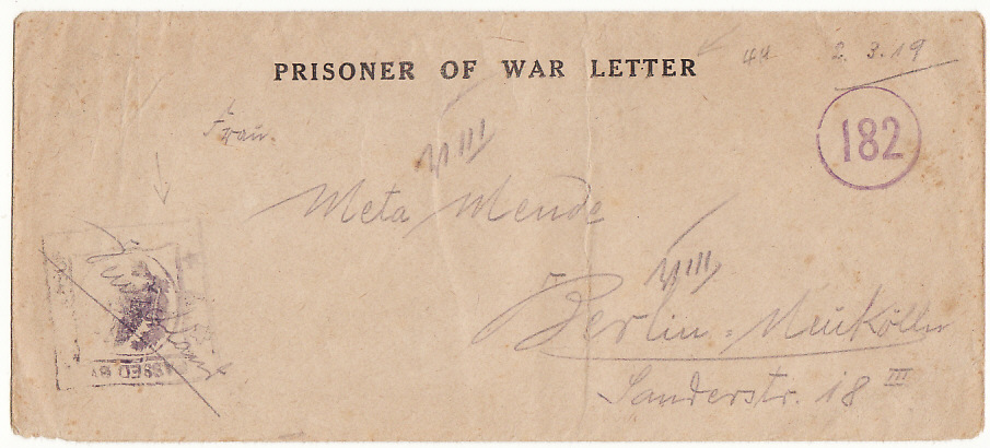 [19420]  FRANCE - GERMANY…1919 POW CAMP No 30 with LETTER…  1919 (Mar 2)