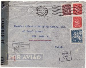 PORTUGAL - USA…WW2 CENSORED DIPLOMATIC MAIL…