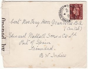 GB - TRINIDAD….EARLY WW2 from SARK C.I. CENSORED in TRINIDAD...
