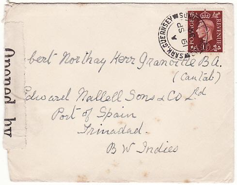 GB - TRINIDAD….EARLY WW2 from SARK C.I. CENSORED in TRINIDAD...