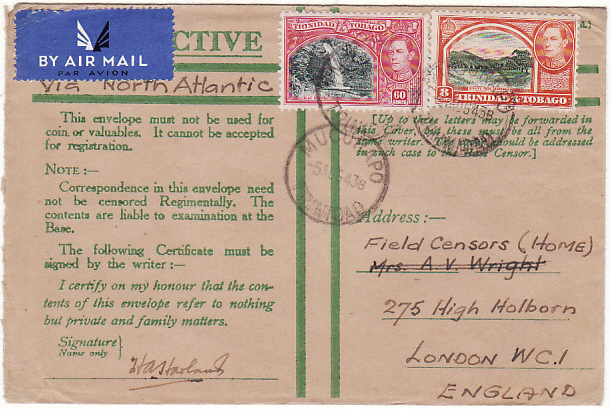 [19354]  TRINIDAD - GB…WW2 HONOUR ENVELOPE via AIRMAIL…  1943 (Aug 5)