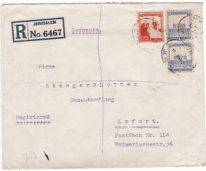 PALESTINE - GERMANY..1932 BRITISH MANDATE PERIOD REGISTERED…