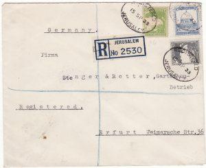 PALESTINE - GERMANY..1933 BRITISH MANDATE PERIOD REGISTERED…