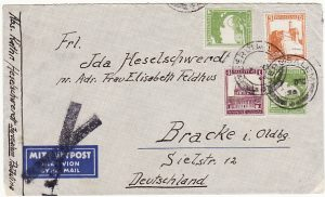 PALESTINE - GERMANY..1934 AIRMAIL DELETED…