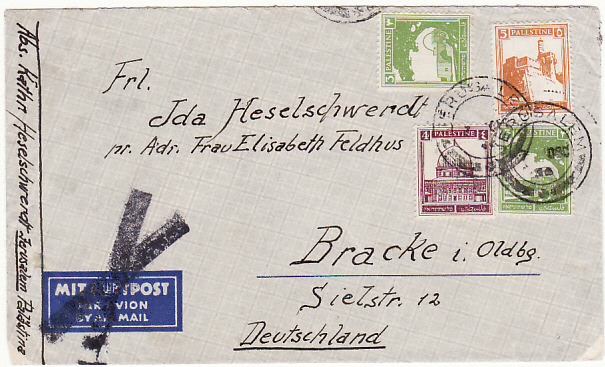[19449]  PALESTINE - GERMANY..1934 AIRMAIL DELETED…  1934 (Dec 7)