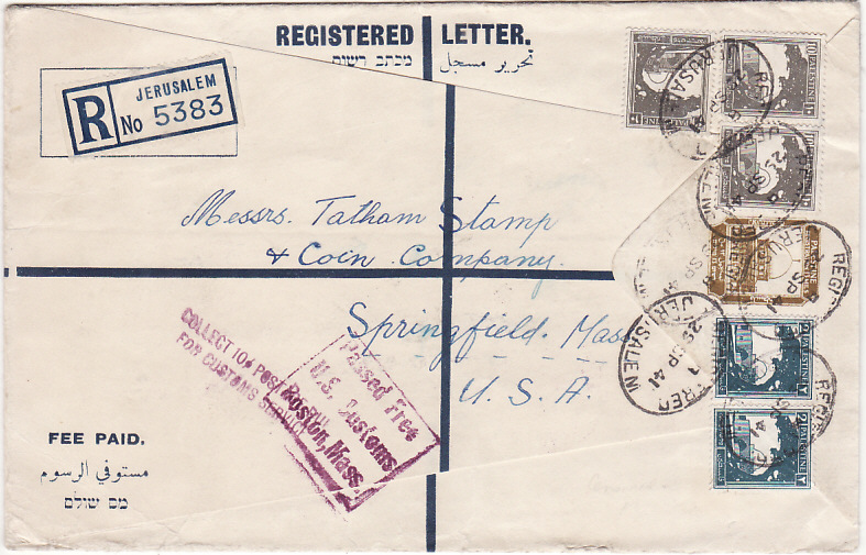 [19450]  PALESTINE - USA..WW2 REGISTERED CENSORED & CUSTOMS INSTRUCTIONAL…  1941(Sep 29)