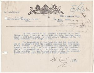 EAST AFRICA….WW1 N.F.F. ASKARI POW SENTENCED TO DEATH …