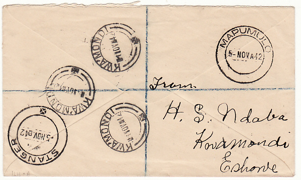 [17081]  SOUTH AFRICA [WW2 NATAL REGISTERED INTERNAL in ZULULAND]  1942(Nov 1)