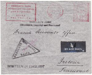 PALESTINE - SOUTH AFRICA.. WW2 BANK METER MAIL…