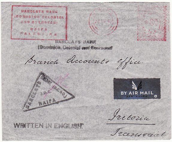 [19455]  PALESTINE - SOUTH AFRICA.. WW2 BANK METER MAIL…  1943 (Apr 23)