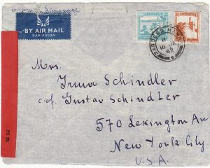 PALESTINE - USA .. WW2 CENSORED AIRMAIL from PARDESS HANNA via WEST AFRICA…