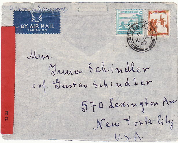 [19467]  PALESTINE - USA .. WW2 CENSORED AIRMAIL from PARDESS HANNA via WEST AFRICA…  1942 (Jan 16)