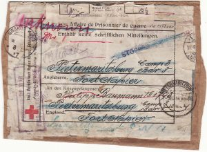 GERMANY - SOUTH AFRICA…RED X POW PARCEL LABLE forwarded to S.W.A ...