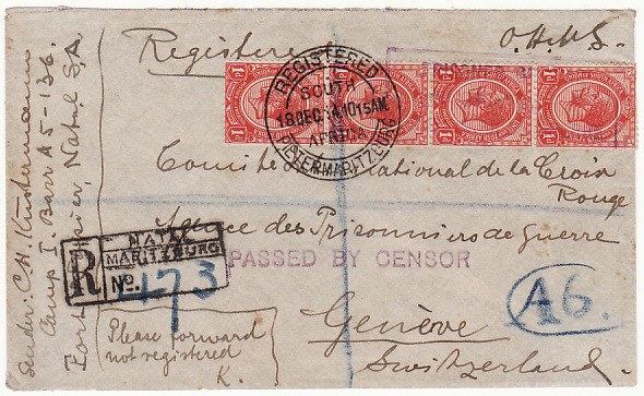[16325[  SOUTH AFRICA-SWITZERLAND [POW MAIL]  1914(Dec 18)