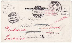 SOUTH AFRICA - SWITZERLAND…WW1 REDIRECTED POW MAIL…