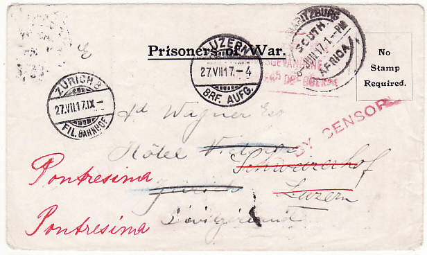[18316]  SOUTH AFRICA - SWITZERLAND…WW1 REDIRECTED POW MAIL…  1917 (Jun 6)