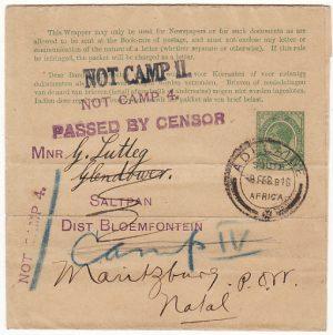 SOUTH AFRICA... WW1 C.O.G.H. to NATAL POW MAIL…