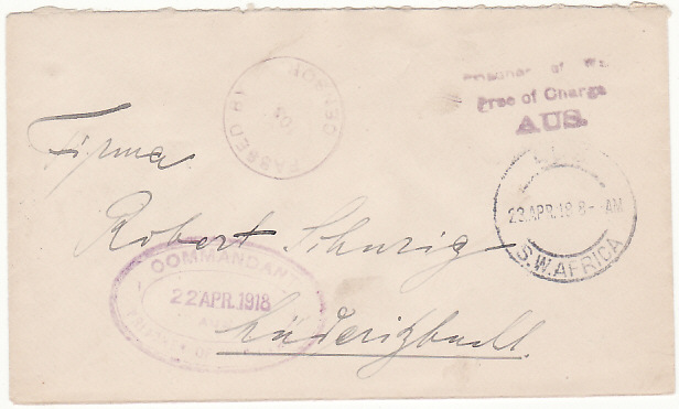 [18320]  SOUTH WEST AFRICA …WW1 INTERNAL POW MAIL…  1918 (Apr 2 2)