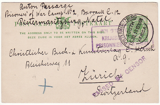 [18317]  SOUTH AFRICA - SWITZERLAND…WW1 POW MAIL…  1915 (Jul 15)