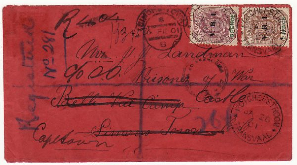 SOUTH AFRICA..BOER WAR-REGISTERED POW MAIL TRANSVAAL to C.O.G.H.