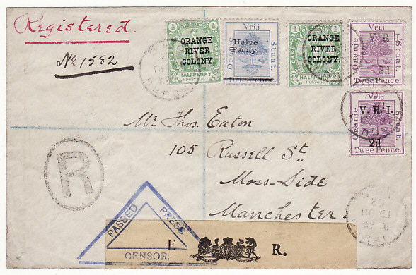 [17915]  ORANGE FREE STATE - GB...BOER WAR REGISTERED CENSORED COMBINATION...  1902 (Jun 19)