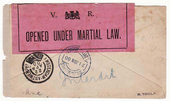 NETHERLANDS - SOUTH AFRICA …BOER WAR STOPPED BY CENSOR