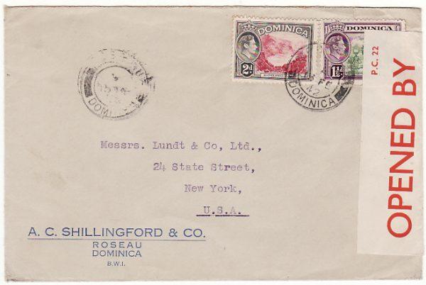 DOMINICA-USA [WW2-PC 22 CENSOR LABEL-GPO CENSOR]