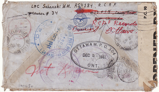 [12205]  CANADA-GB-CANADA-GB-EGYPT-LIBYA...HUGE TRAVELS…  1941 (Feb)