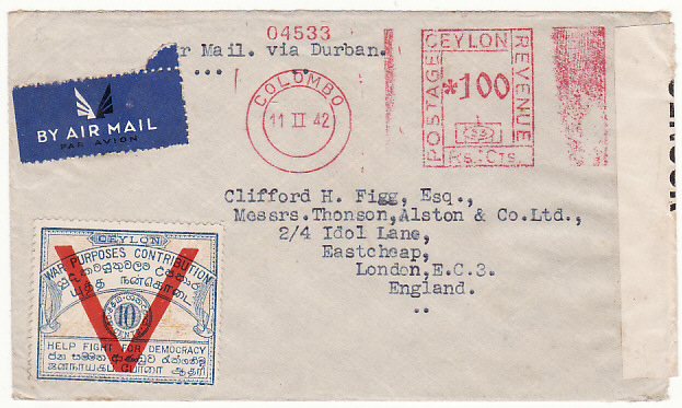 [13578]  CEYLON-GB..PATRIOTIC AIRMAIL via HORSE SHOE ROUTE..  1942 (Feb 11)