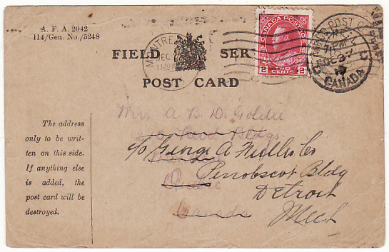 [15901]  FRANCE-CANADA-USA...WW1 CANADIAN FORCES & FORWARDED..  1915(Nov 10)