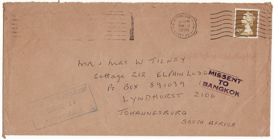 [15241]  GB-SOUTH AFRICA…..MISSENT TO BANGKOK…  1996(Mar 15)