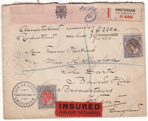 NETHERLANDS-GB…WW1 REGISTERED CENSORED INSURED